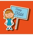 girl kids happy poster vector image vector image