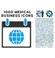 Globe Calendar Day Icon With 1000 Medical Business vector image vector image