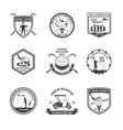 Golf Black White Emblems Set vector image
