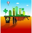 Green and polluted cities vector image