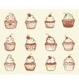 hand drawn cupcakes vector image vector image