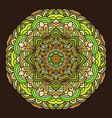 hand drawn mandala colorful on dark background vector image vector image