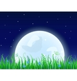 Huge moon with grass meadow vector image vector image