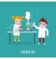 Kids education Chemistry class Children in a lab vector image vector image