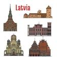 Latvia famous historic architecture icons vector image