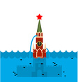 Moscow Kremlin flood Russian sight in water vector image vector image