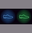 neon man shoe in blue and green color vector image vector image