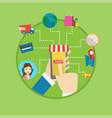 online shopping flat design vector image vector image