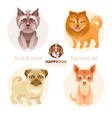 puppy dog breeds icon set yorkshire terrier vector image