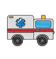 scribble ambulance car cartoon vector image