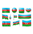 set azerbaijan flags banners banners symbols vector image