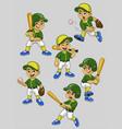 set cartoon asian boy baseball player vector image vector image