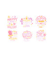 set cute pink lettering with pictures for a vector image vector image
