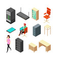 set of office isometric icons server armchair vector image vector image