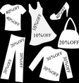 Set of white clothing with sale percent discount vector image