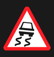 slippery road sign flat icon vector image vector image