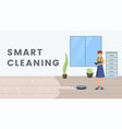 smart cleaning flat banner template vector image