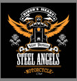 stell angels - custom motorcycles club badge or vector image vector image