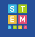 stem word with icons on blue vector image vector image