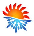 Sun and snowflake air conditioning vector image vector image