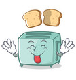 tongue out toaster character cartoon style vector image