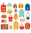 travel bags handle luggage bag suitcase vector image