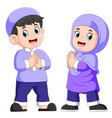 two children giving greeting forgiveness vector image vector image