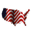 united states of asmerica map with flag vector image vector image
