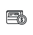 wallet bank card coin money shopping line style vector image vector image