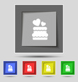 wedding cake icon sign on original five colored vector image vector image