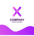 x company logo design with purple theme vector image