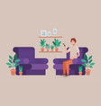 young man on the livingroom vector image vector image