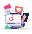 young woman and man website smartphone love chat vector image vector image