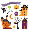Cute halloween elements collection vector image