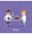 Kids education Physics class Children in a lab vector image