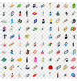100 body icons set isometric 3d style vector image vector image