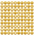 100 emotion icons set gold vector image vector image