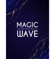 abstract gold shining waves on blue background vector image vector image