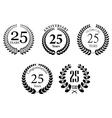 Anniversary jubilee laurel wreaths set vector image vector image