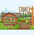 background scene zoo park with many cages vector image vector image