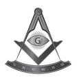 black iron masonic square and compass symbol vector image