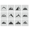 black mountains icons set vector image vector image