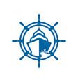 boat and ship wheel icon design vector image