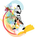boxing training woman in gym vector image vector image