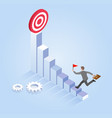 businessman run to target isometric vector image vector image