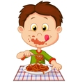 Cartoon boy eating spaghetti vector image vector image