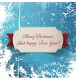 Christmas greeting paper Label and red Ribbon vector image vector image
