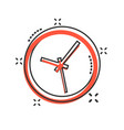 clock sign icon in comic style time management vector image vector image