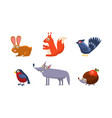 collection of wild forest animals hare grouse vector image vector image