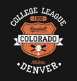 colorado denver vintage baseball graphic for vector image vector image